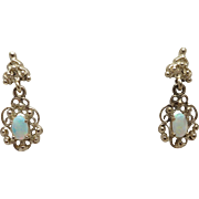 Pair of Vintage New Gold over Sterling Silver (Vermeil) Genuine Opal Filigree Dangle Pierced .