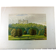 SALE 1880's English Color Engraved Print of  Belvoir Castle with Cover Page