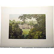 SALE Antique 1880's English Color Engraved Print of  Hampton Court with Cover Page