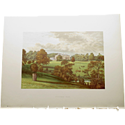 SALE Antique 1880's English Color Engraved Print of  Ashcombe Park with Cover Page