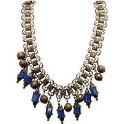 Vintage Fringe Necklace with Cut Blue Glass Beads and Engraved Balls
