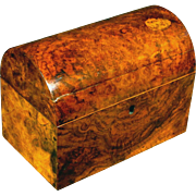 A Very Good 19th Century Dome-Topped Tea Caddy in Burr Walnut, English Circa 1860