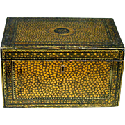 An Exceptional and Rare 19th Century Chinese Export Black Lacquer Tea Caddy, Guangzhou (Canton