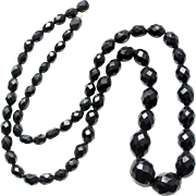 19th Century Antique Victorian Whitby jet necklace English mourning jewelry