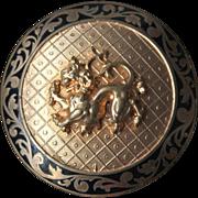1930s French lion passant black enamel champleve scarf clip heraldry