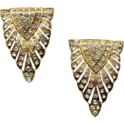 1930s Art deco Goody  clear rhinestones  dress clip gilt pot metal pave