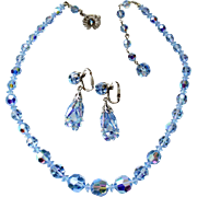 1950s Sherman Blue necklace and earrings set demi- parure AB Sapphire Blue Crystal