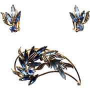 1950s Signed Austria Blue navettes and Ab rhinestones brooch and earrings set goldtone leaves