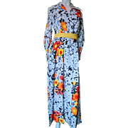 1970's Spring Summer Black White with Orange and Yellow Daisies Long Dress