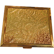 1950's Gold Tone Metal Square Floral Motif Powder Compact
