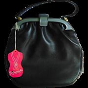 Schiaparelli Original Black Leather & Gray Lucite Trimmed Purse Handbag