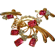 Pink Emerald Cut & Rhinestone Brooch & Earrings Costume Jewelery Set