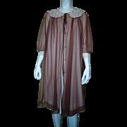 Gossard Artemis ® Mocha Chiffon Peignoir Nightgown Negligee Set 1960's