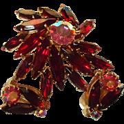 Deep Red Marquis Rhinestone Pinwheel Ladies Brooch with Matching Earrings