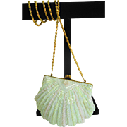White Sea Shell Fashioned Ladies Beaded Evening Bag