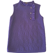 Vintage Lady Anne Sleeveless Lavender Polyester Knit Sweater with Pearl Buttons