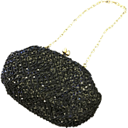 Vintage Handmade Black Beaded Evening Bag with Gold Detail