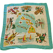Vintage Hawaiian Islands Rayon and Silk Hand Rolled Scarf