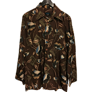 Vintage 1970s Equus by BVD Men's brown flowered Shirt Large 18""