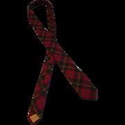 Vintage 1964 Forsyth Maple Leaf Tartan Red Skinny Tie
