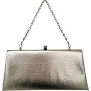 Vintage 1960s John Hort Silver Purse with Diamond Rhinestone Closure