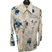 Vintage 1970s HBarC Ranchwear Long Tail Permanent Press Flowered Men's Shirt