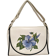 Vintage The Original Florida Keys Hangbag 1980s White with Blue Flower