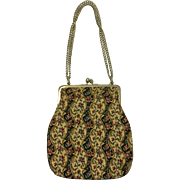 Vintage Embroidered Handbag Purse with Gold Detail
