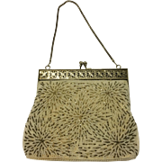 Vintage Creme Beaded Evening HandBag with Silver Detail