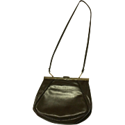 Vintage Elegance Genuine Leather Brown Handbag with Gold Detail Made in Canada