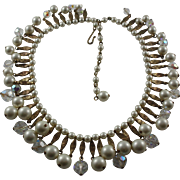 Vintage Egyptian Revival Faux Pearl Collar Necklace