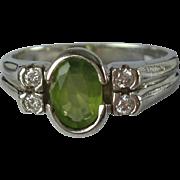 Peridot Diamond 14K White Gold Size 6 Vintage Ring