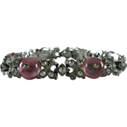 1940's Trifari Pink Shoe Button Rhinestone Bracelet (Book Piece)