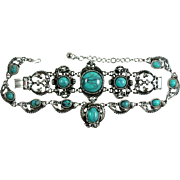 Coro Faux Turquoise Bracelet and Necklace Set