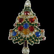 Warner Christmas Tree Rhinestone Vintage Brooch