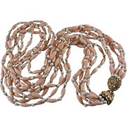 Trifari 1940's/50's Faux Pink Coral & Milk Glass Beads Six Strand Necklace