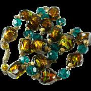 Venetian Foil Glass Bead Vintage Necklace