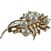 SALE 14K Yellow Gold Six Cultured Pearls Vintage Brooch