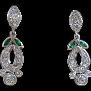 Gorgeous Art Deco Diamond Emerald Dangle Earrings 900 Platinum
