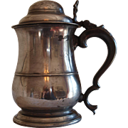 Antique English pewter lidded tankard, 1 quart Old English Wine Standard, C1780.