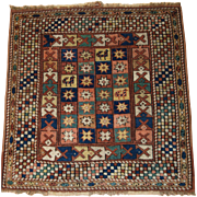 Antique Turkish Bergama rug of small square size, 4th quarter 19th century.