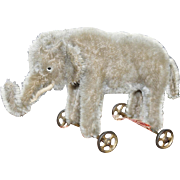 Early American 6 inch Elephant on Wheels c1910