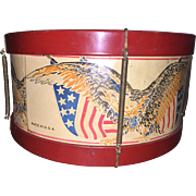 Tin Toy Patriotic Drum With Eagle and Flag, 1940s