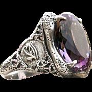 "Sterling Silver Amethyst Ring ""Horus Eye"""