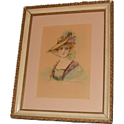Beautiful Original Watercolor Painting in Lovely Frame, Dated 1909