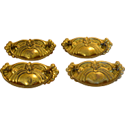 Brass Drawer Pulls with Bails and Backplates Dresser Cabinet Hardware