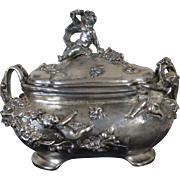 Large Art Nouveau Jewelry Casket with Cupids, silver plated, signed Auguste Moreau, French, c.