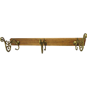 SALE Wonderful Antique Wood & Brass Coat Rack