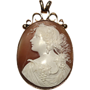 SALE Large Detailed Victorian Cameo Pendant in 9K Gold