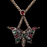 SALE Victorian 15K Gold Diamond, Garnet and Seed Pearl Butterfly Pendant/Brooch